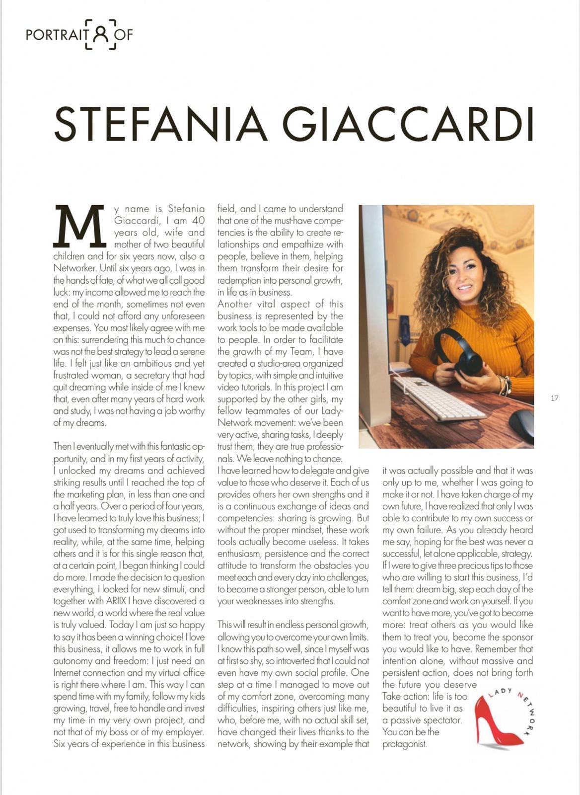 articolo su Stefania Giaccardi pubblicato su The Networker rivista di network marketing